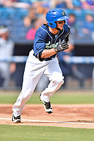 Asheville Tourists center fielder Matt Hearn (1) runs to first base during game one of a double header against the Columbia Fireflies at McCormick Field on August 4, 2018 in Asheville, North Carolina. The Tourists defeated the Fireflies 5-1. (Tony Farlow/Four Seam Images)