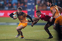 Jaguares' Ramiro Moyano beats Crusaders' Sevu Reece during the 2019 Super Rugby final between the Crusaders and Jaguares at Orangetheory Stadium in Christchurch, New Zealand on Saturday, 6 July 2019. Photo: Joe Johnson / lintottphoto.co.nz
