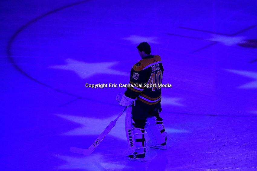 May 2, 2018: Boston Bruins goaltender Tuukka Rask (40) stands on the ice before game three of the second round of the National Hockey League's Eastern Conference Stanley Cup playoffs between the Tampa Bay Lightning and the Boston Bruins held at TD Garden, in Boston, Mass. Tampa Bay defeats Boston 4-1. Eric Canha/CSM
