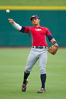 Christian Lopes #14 warms up during the USA Baseball 18U National Team Trials at the USA Baseball National Training Center on June 30, 2010, in Cary, North Carolina.  Photo by Brian Westerholt / Four Seam Images
