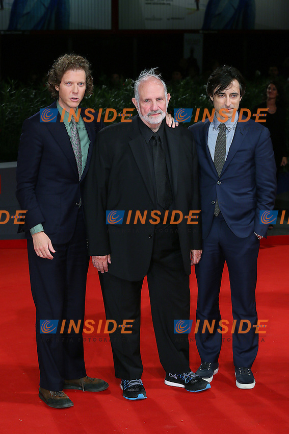 VENICE, ITALY - SEPTEMBER 09: Jake Paltrow, Brian De Palma and Noah Baumbach attend the 'De Palma - Jaeger-LeCoultre Glory to the Filmmaker 2015 Award' Red Carpet during 72nd Venice Film Festival at Palazzo Del Cinema on September 9, 2015 in Venice, Italy. (Mark Cape/insidefoto)