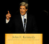 Boston, MA - August 28, 2009 -- United States Senator John Kerry Democrat of Massachusetts) speaks during the Celebration of Life Memorial Service for Senator Edward Kennedy at the John F. Kennedy Library in Boston, Massachusetts, USA 28 August 2009.  Senator Edward Kennedy, 77, died 25 August 2009 after a 14-month battle with brain cancer..Credit: CJ  Gunther - Pool via CNP