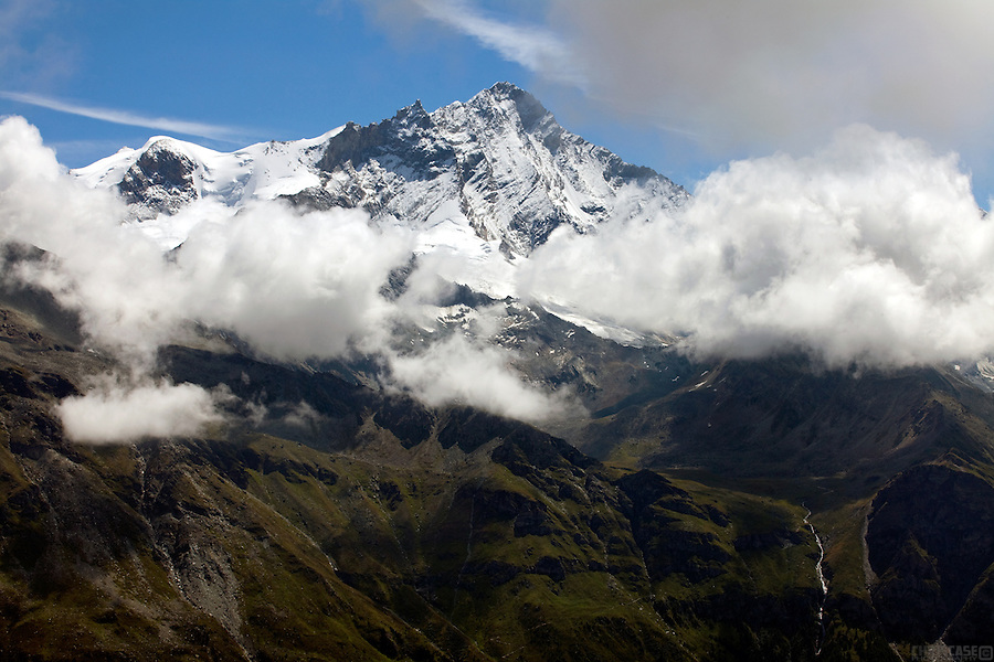 The western face of the Weisshorn, above the Val de Zinal, Switzerland.