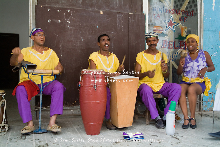 Cuban band Los 4 Vientos playing music in the streets of Havana, Cuba.