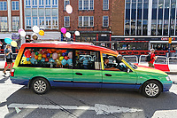 Pictured: A heare in the colours of the rainbow travels on the Kingsway as part of the Pride parade in Swansea, Wales, UK. Saturday 05 May 2018<br /> Re: Spring Pride has brought a celebration of colour to the streets of Swansea in Wales, UK.<br /> Rainbow flags were flown in support of the LGBT community at the event, which is designed to raise awareness and is open to anyone to take part in.