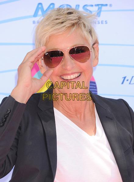 Ellen DeGeneres.Teen Choice Awards 2012 - Arrivals held at Gibson Amphitheatre, Universal City, California, USA..July 22nd, 2012.headshot portrait black blazer white top sunglasses shades hand .CAP/ROT/TM.©Tony Michaels/Roth Stock/Capital Pictures