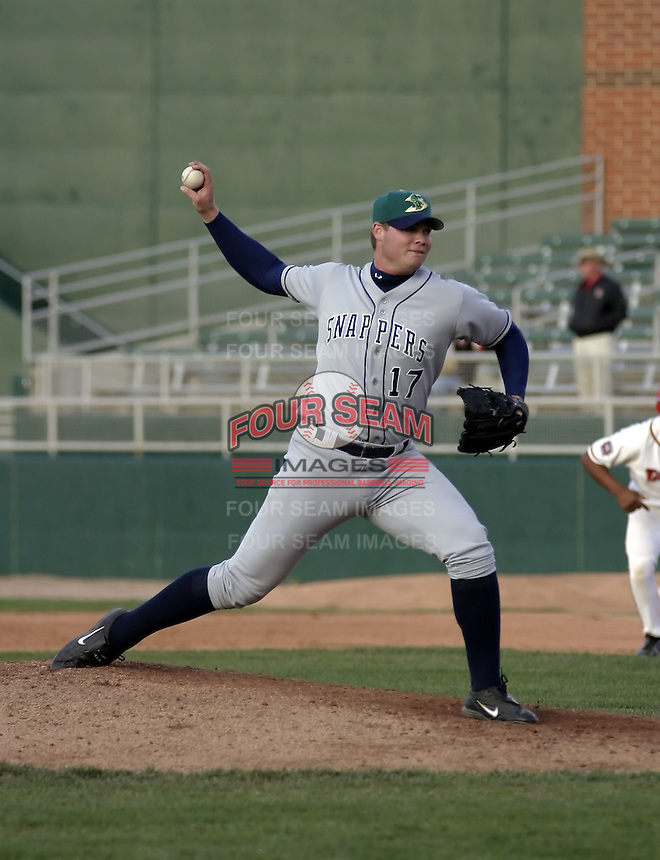 April 21, 2004:  Pitcher Tim Dillard of the Beloit Snappers, low-A affiliate of the Milwaukee Brewers, during a game at Oldsmobile Park in Lansing, MI.  Photo by:  Mike Janes/Four Seam Images