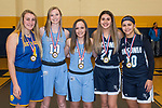 WATERBURY,  CT-021819JS28-  Members of the All-Copper Team, from left, Kolby Sirowich-Seymour; Molly Sastram-Oxford; Kelly Shpak-Oxford; Natasha Rivera-Ansonia and Josephine Sanchez-Oxford.<br /> Jim Shannon Republican American