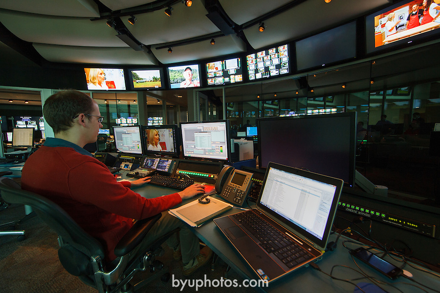 1203-11 035 Broadcast Interiors<br /> <br /> BYUB BYUtv Broadcast Building Interior<br /> <br /> March 7, 2012<br /> <br /> Photo by Jonathan Hardy/BYU<br /> <br /> © BYU PHOTO 2012<br /> All Rights Reserved<br /> photo@byu.edu  (801)422-7322