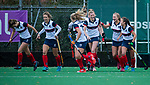 HUIZEN - Hockey - Vreugde bij Huizen na de 2-0. Hoofdklasse hockey competitie, Huizen-Bloemendaal (2-1) . COPYRIGHT KOEN SUYK