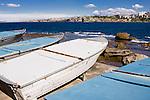 Boats alongside the coastline of Bondi Beach
