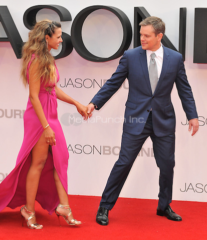 Luciana Barroso &amp; Matt Damon at the &quot;Jason Bourne&quot; European film premiere, Odeon Leicester Square cinema, Leicester Square, London, England, UK, on Monday 11 July 2016.<br /> CAP/CAN<br /> &copy;CAN/Capital Pictures /MediaPunch ***NORTH AND SOUTH AMERICAS ONLY***