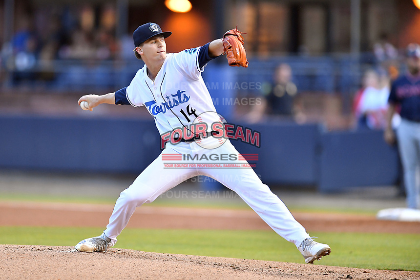 Asheville Tourists starting pitcher Ryan Feltner (14) delivers a pitch during a game against the Rome Braves at McCormick Field on July 19, 2019 in Asheville, North Carolina. The Braves defeated the Tourists 4-1. (Tony Farlow/Four Seam Images)