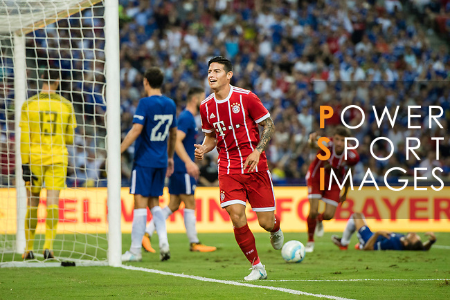 Bayern Munich Midfielder James Rodríguez celebrating the second score of Bayern during the International Champions Cup match between Chelsea FC and FC Bayern Munich at National Stadium on July 25, 2017 in Singapore. Photo by Marcio Rodrigo Machado / Power Sport Images
