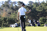 Gary Woodland (USA) sinks his birdie putt on the 1st green during Thursday's Round 1 of the 2018 AT&amp;T Pebble Beach Pro-Am, held over 3 courses Pebble Beach, Spyglass Hill and Monterey, California, USA. 8th February 2018.<br /> Picture: Eoin Clarke | Golffile<br /> <br /> <br /> All photos usage must carry mandatory copyright credit (&copy; Golffile | Eoin Clarke)