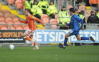 Blackpool's Antony Evans under pressure from Gillingham's Darren Oldaker<br /> <br /> Photographer Kevin Barnes/CameraSport<br /> <br /> The EFL Sky Bet League One - Blackpool v Gillingham - Saturday 4th May 2019 - Bloomfield Road - Blackpool<br /> <br /> World Copyright © 2019 CameraSport. All rights reserved. 43 Linden Ave. Countesthorpe. Leicester. England. LE8 5PG - Tel: +44 (0) 116 277 4147 - admin@camerasport.com - www.camerasport.com