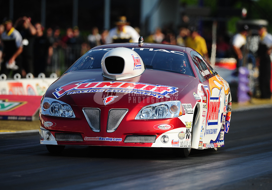 Apr. 29, 2011; Baytown, TX, USA: NHRA pro stock driver Greg Anderson during qualifying for the Spring Nationals at Royal Purple Raceway. Mandatory Credit: Mark J. Rebilas-