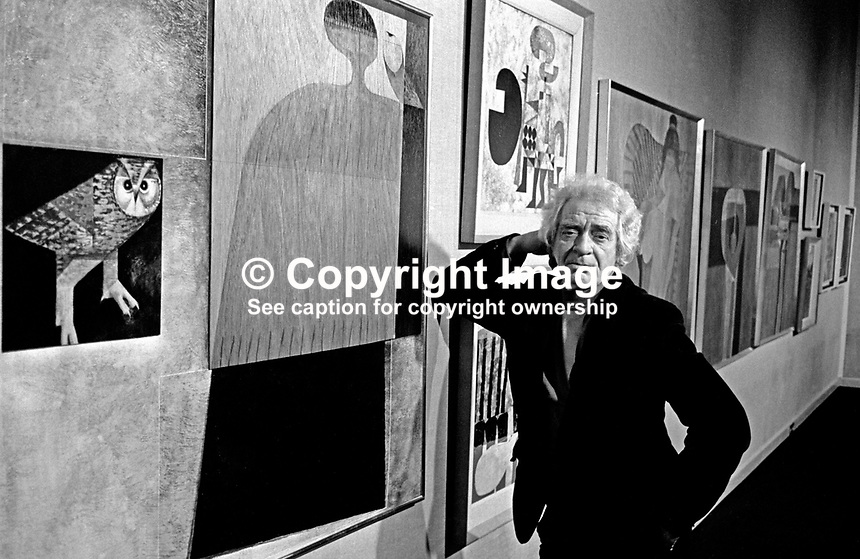 Colin Middleton, artist, surrealist, Belfast, N Ireland, UK, at a exhibition of his paintings in the Ulster Museum. Also a poet and musician he was head of art at Friends' School, Lisburn. 197601200053b.<br />