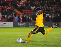 Wolverhampton Wanderers U21's Niall Ennis scores his penalty<br /> <br /> Photographer Andrew Vaughan/CameraSport<br /> <br /> The EFL Checkatrade Trophy Northern Group H - Lincoln City v Wolverhampton Wanderers U21 - Tuesday 6th November 2018 - Sincil Bank - Lincoln<br />  <br /> World Copyright © 2018 CameraSport. All rights reserved. 43 Linden Ave. Countesthorpe. Leicester. England. LE8 5PG - Tel: +44 (0) 116 277 4147 - admin@camerasport.com - www.camerasport.com