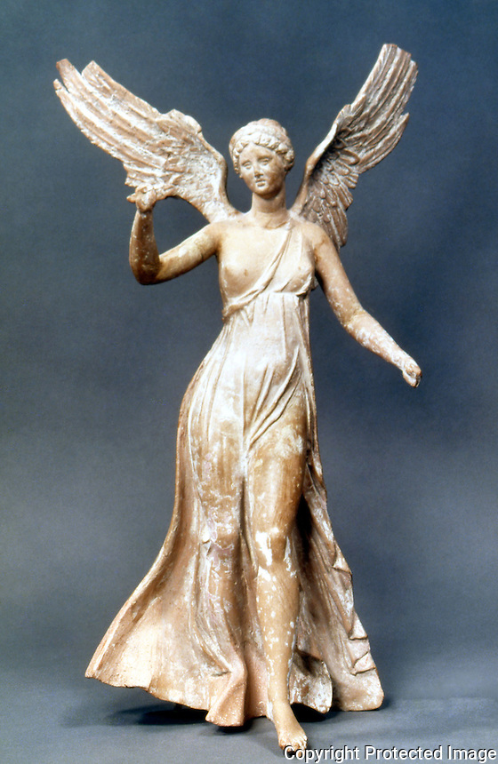 Greek Art:  Victory of Victories terracotta statuette from Myrina.  Louvre.