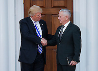 United States President-elect Donald Trump (L) shakes hands with General James N. Mattis, US Marine Corps, retired, (R) at the clubhouse of Trump International Golf Club, November 19, 2016 in Bedminster Township, New Jersey.  Gen. Mattis is rumored to be a strong candidate for Secretary of Defense in the incoming Trump Administration.<br /> Credit: Aude Guerrucci / Pool via CNP /MediaPunch
