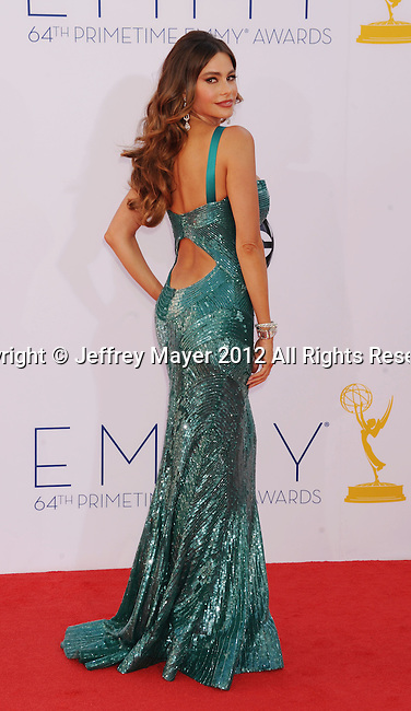 LOS ANGELES, CA - SEPTEMBER 23: Sofia Vergara  arrives at the 64th Primetime Emmy Awards at Nokia Theatre L.A. Live on September 23, 2012 in Los Angeles, California.