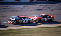 Dale Earnhardt Sr. leads Dale Earnhardt Jr. in the dradt en route to the final victory of his career during the Winston 500 at Talladega Superspeedway, Talladega, AL. October 15, 2000.  (Photo by Brian Cleary/www.bcpix.com)