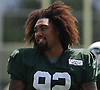 Leonard Williams #92 of the New York Jets practices during training camp at the Atlantic Health Jets Training Center in Florham Park, NJ on Monday, Aug. 6, 2018.