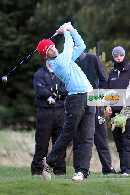 Shaun Carter (Stackstown) on the 1st tee during the Leinster Youths Amateur Open Championship in the European Club, Brittas Bay, Co.Wicklow. 27/3/13..(Photo Jenny Matthews/www.golffile.ie)