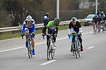 The early breakaway group featuring Anders Lund (Saxo-Tinkoff), Eloy Teruel (Movistar), Stefan van Dijk (Accent Jobs-Wanty), Wouter Mol (Vacansoleil-DCM) and Ruslan Tleubayev (Astana) forms as they pass near Zwevegem during the 56th edition of the E3 Harelbeke, Belgium, 22nd  March 2013 (Photo by Eoin Clarke 2013)