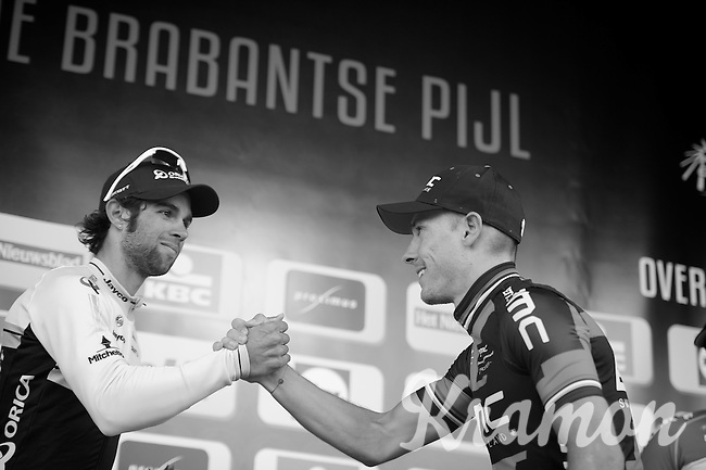 Philippe Gilbert (BEL/BMC) is greeted on the podium by runner-up Michael Matthews (AUS/Orica-GreenEDGE)<br /> <br /> Brabantse Pijl 2014