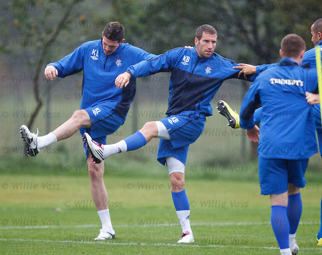 Kyle Lafferty and Kirk Broadfoot do some line dancing. Ye harr
