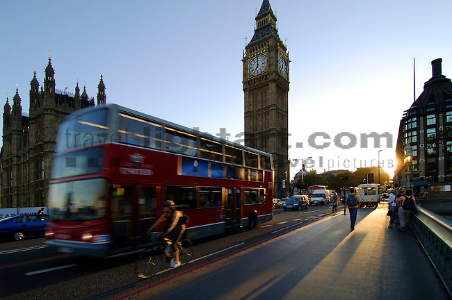 Double-decker Bus in front of Big Ben, London, England, United Kingdom, Great Britain.
