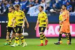 15.04.2018, VELTINS Arena, Gelsenkirchen, Deutschland, GER, 1. FBL, FC Schalke 04 vs. Borussia Dortmund, im Bild Marcel Schmelzer (#29 Dortmund), Andre Sch&uuml;rrle / Schuerrle (#21 Dortmund), Mario G&ouml;tze / Goetze (#10 Dortmund), Roman B&uuml;rki / Buerki (#38 Dortmund) entt&auml;uscht / enttaeuscht / traurig nach Niederlage<br /> <br /> Foto &copy; nordphoto / Kurth