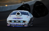 Jul. 16, 2010; Sonoma, CA, USA; NHRA pro stock driver Larry Morgan during qualifying for the Fram Autolite Nationals at Infineon Raceway. Mandatory Credit: Mark J. Rebilas-