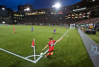 Portland, Oregon - Sunday April 17, 2016: Portland Thorns FC midfielder Tobin Heath (17) takes corner kick. The Portland Thorns play the Orlando Pride during a regular season NWSL match at Providence Park. The Thorns won 2-1.