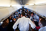 Senator Barack Obama (D-Illinois), Democratic contender for the Presidential nomination, on way to New Orleans, Louisiana from Omaha, Nebraska, February 7, 2008..