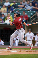 Lehigh Valley IronPigs catcher Logan Moore (11) at bat during a game against the Rochester Red Wings on May 15, 2015 at Frontier Field in Rochester, New York.  Rochester defeated Lehigh Valley 5-4.  (Mike Janes/Four Seam Images)