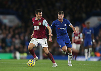 Burnley's Jack Cork and Chelsea's Cesar Azpilicueta<br /> <br /> Photographer Rob Newell/CameraSport<br /> <br /> The Premier League - Chelsea v Burnley - Saturday 11th January 2020 - Stamford Bridge - London<br /> <br /> World Copyright © 2020 CameraSport. All rights reserved. 43 Linden Ave. Countesthorpe. Leicester. England. LE8 5PG - Tel: +44 (0) 116 277 4147 - admin@camerasport.com - www.camerasport.com