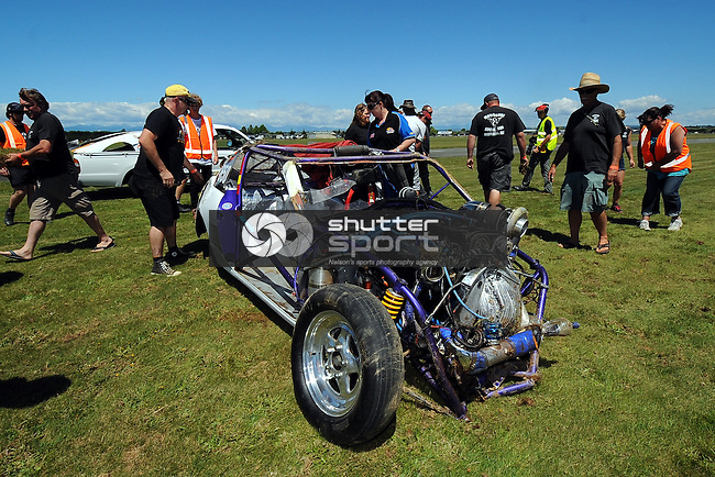 Wakefield driver Avon Compton`s drag car after his crash during the NDRA Southern Drag Racing Nationals. Motueka Airport, Motueka, Nelson, New Zealand. Saturday 1 February 2014. Photo: Chris Symes/www.shuttersport.co.nz