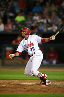 Peoria Chiefs designated hitter Luis Cruz (30) at bat during a game against the Wisconsin Timber Rattlers on August 21, 2015 at Dozer Park in Peoria, Illinois.  Wisconsin defeated Peoria 2-1.  (Mike Janes/Four Seam Images)