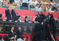 Aug. 8, 2008; Beijing, CHINA; China president Hu Jintao (second from left) waves to the crowd during the opening ceremonies for the 2008 Beijing Olympic Games at the National Stadium. Mandatory Credit: Mark J. Rebilas-
