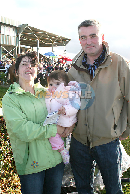 Stephen, Linda and Grace Englishby at the Bellewstown Races...Photo NEWSFILE/Jenny Matthews.(Photo credit should read Jenny Matthews/NEWSFILE)....This Picture has been sent you under the condtions enclosed by:.Newsfile Ltd..The Studio,.Millmount Abbey,.Drogheda,.Co Meath..Ireland..Tel: +353(0)41-9871240.Fax: +353(0)41-9871260.GSM: +353(0)86-2500958.email: pictures@newsfile.ie.www.newsfile.ie.FTP: 193.120.102.198.