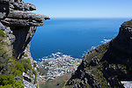CAPE TOWN, SOUTH AFRICA FEBRUARY 28: The view from the top of Kasteel Port with a view of Camps Bay and The Atlantic ocean on February 28, 2016 in Cape Town, South Africa. The city offers many different hiking trails close to the city center. The Pipe track to Kasteel port is one of the most challenging hikes in Cape Town. (Photo by: Per-Anders Pettersson)
