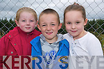 Watching the hot rod racing in Lyreacrompane last Sunday were Shania Griffin (6), Knocknagoshel, Tommy McElligott (7), Kilmorna and Lauren Cahill (6) from Abbeyfeale.   Copyright Kerry's Eye 2008