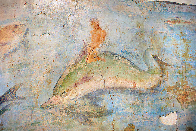 Roman Fresco with a boat decorated for a festival and marine life from the second quarter of the first century AD. (mosaico fauna marina da porto fluviale di san paolo), museo nazionale romano ( National Roman Museum), Rome, Italy. inv. 121462 .