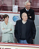 Shelagh Hayes, Kevin Hayes, Jerry York (BC - Head Coach) - The visiting University of Notre Dame Fighting Irish defeated the Boston College Eagles 2-1 in overtime on Saturday, March 1, 2014, at Kelley Rink in Conte Forum in Chestnut Hill, Massachusetts.