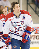 Matt Ferreira (UML - 17) - The University of Massachusetts-Lowell River Hawks defeated the University of Alabama-Huntsville Chargers 3-0 on Friday, November 25, 2011, at Tsongas Center in Lowell, Massachusetts.