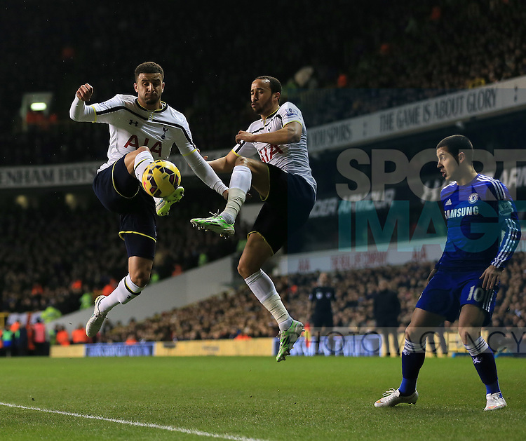 Tottenham's Kyle Walker and Andros Townsend tussle with Chelsea's Eden Hazard<br /> <br /> Barclays Premier League - Tottenham Hotspur vs Chelsea - White Hart Lane  - England - 1st January 2015 - Picture David Klein/Sportimage