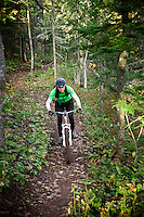 Riding The Flow trail while mountain biking in Copper Harbor Michigan Michigan's Upper Peninsula.